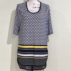 EUC CATO Awesome High Low Diamond Pattern Tunic